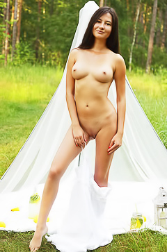 Pretty young model posing outdoor