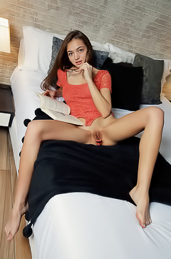 Aking Off Her Glasses, The Green-eyed Beauty Unfastens Her Red Lace Bodysuit To Bare Her Shaved Pussy