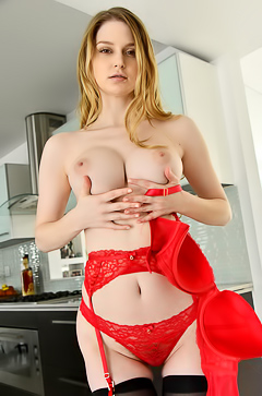 Bunny Colby - Red Lingerie And Black Stockings